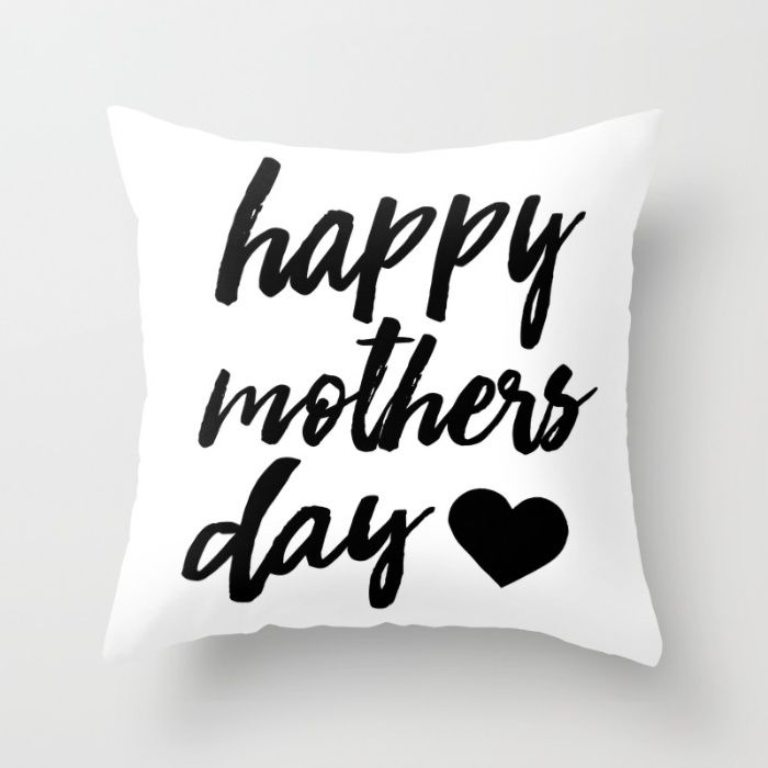Happy Mothers day - Black - mothers day print Throw Pillow
