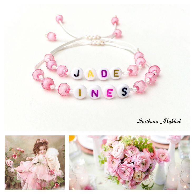 bracelet avec message ou prenom personnaliable perles acryliques