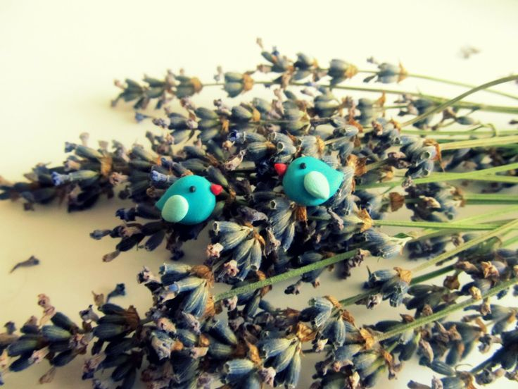 Tiny bird earrings made from polymer clay Handmade by Hagumi