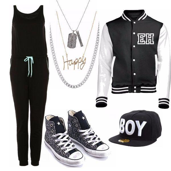 Per le ragazze moderne che adorano lo stile street ecco il giusto abbigliamento. Mitica Letterman jacket abbinata ad una tuta rigorosamente in nero con un tocco fluo del cordoncino dei pantaloni. Collane abbinate alle immancabili all star, ma glitterate per non risultare anonime.