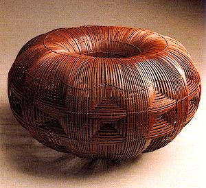 "Modern Japanese bamboo art. ""Sun,"" by Takesonosai Higashi .Basketry Art #Basketry Art #Art #Basket #Wicker Basket #Craft"