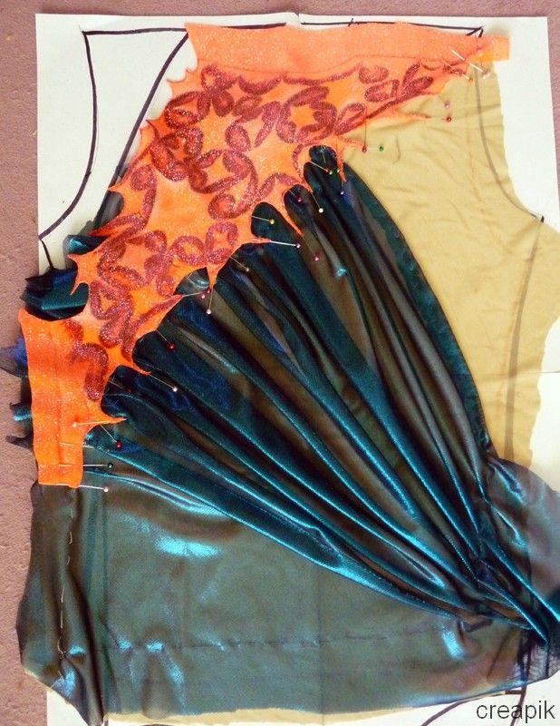 Creapik - Création d'un justaucorps orange/bleu (couture, peinture et strass)