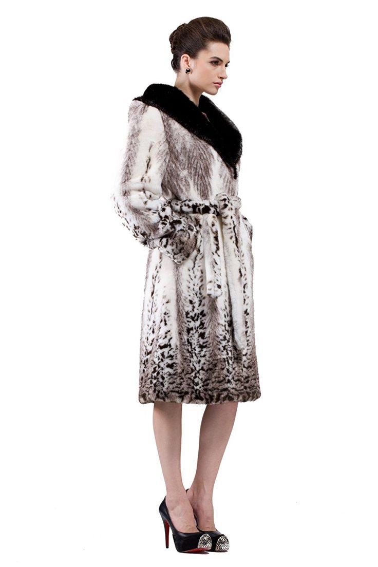 Adelaqueen Women's White Mink Faux Fur Coat Full Length with Snow ...