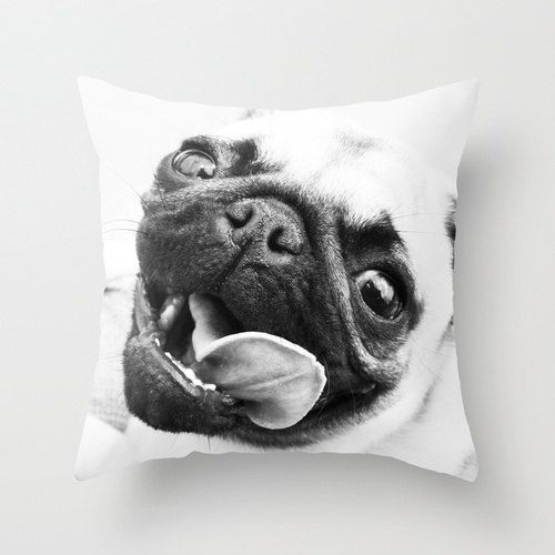 Dog Tongue Happy Pug Pillow - 16 x 16 Pillow Cover on Etsy, $38.00