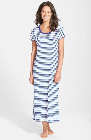 Women's Lauren Ralph Lauren Stripe Knit Maxi Nightgown