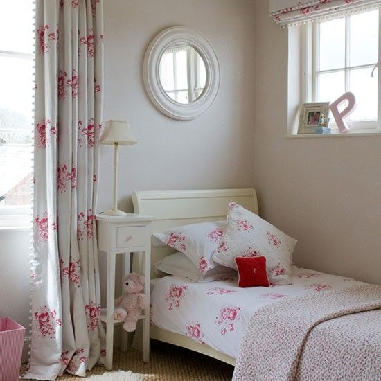 Contemporary floral girl's bedroom  A floral print takes on a contemporary feel when teamed with neutral tones and accessories.  Similar mirror Omelo  Read more at http://www.housetohome.co.uk/room-idea/picture/girls-bedrooms-10-of-the-best#PfAQJGKuOxBaUICr.99