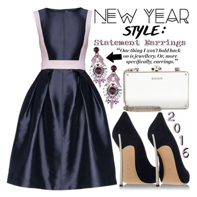 """""""New Year's Style Resolution"""" by beautifully-eclectic ❤ liked on Polyvore featuring Elizabeth Cole, Lattori, Miu Miu, NewYears, StatementEarrings, 2016 and styleresolution"""