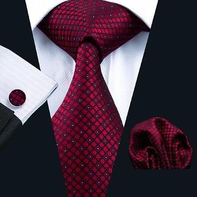 Classic-Red-Plaids-Checks-Men-039-s-Tie-Set-USA-Silk-Necktie-Hanky-Cufflinks-C-704