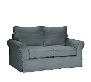 Pb Comfort Roll Arm Sectional Down Denim R Loveseat Washed