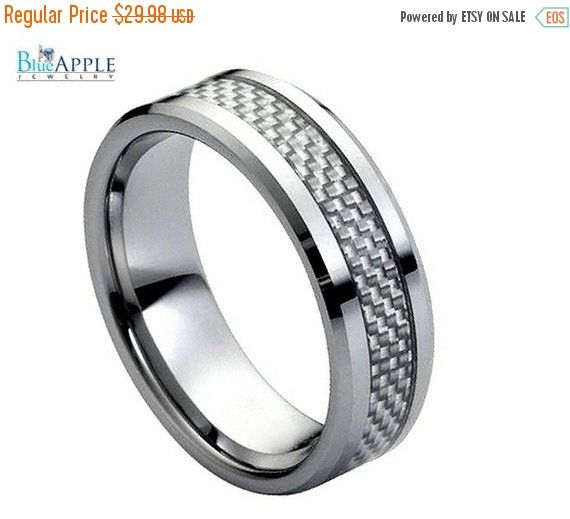 His Hers 8mm Tungsten with Grey Carbon Fiber Inlay Low Beveled Edge Wedding Engagement Band Ring