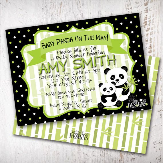 Panda Baby Shower   5x7 Digital Invitation   DIY Printable   Baby Panda  Bear   Pandamonium