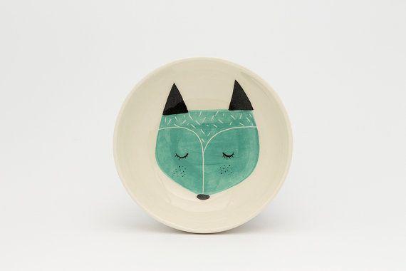 Piatto da portata in ceramica - bianco che serve ciotola - illustrazione di volpe - Volpe illustrata regalo di ciotola - regalo doccia Baby - Valentine MADE TO ORDER