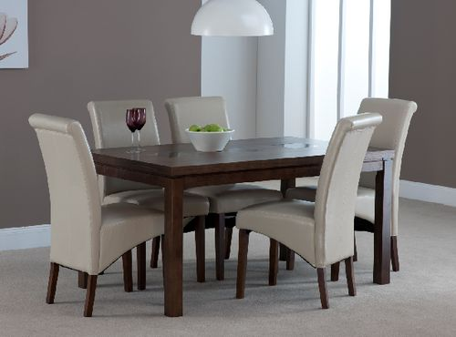 Michigan, walnut 5 ft dining table, 6 henley chairs cream