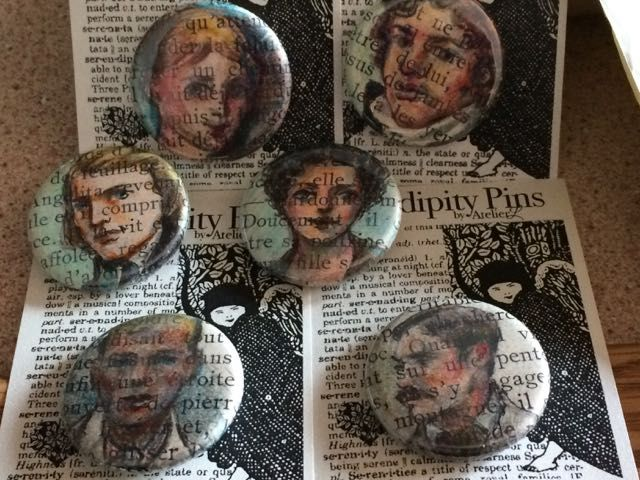 Serendipity Pins by Atelier L (original drawings  on book pages ...miniature art by Lorraine Muenster)