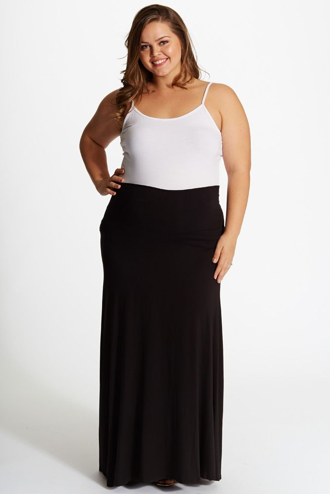 Black-Basic-Plus-Size-Maternity-Maxi-Skirt