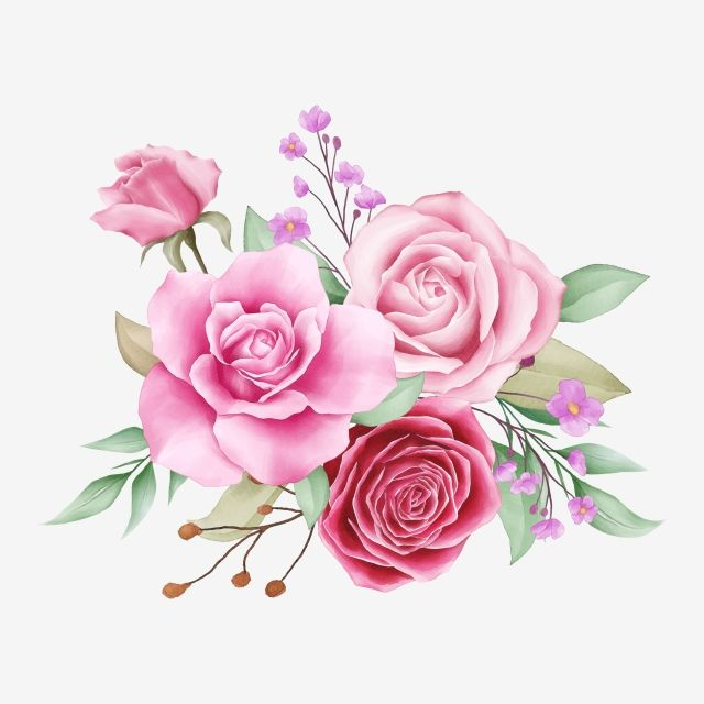 Beautiful Watercolor Flowers Arrangement Of Rose Flowers Roses Clipart Wedding Invite Png And Vector With Transparent Background For Free Download Flower Drawing Flower Background Wallpaper Cherry Blossom Watercolor