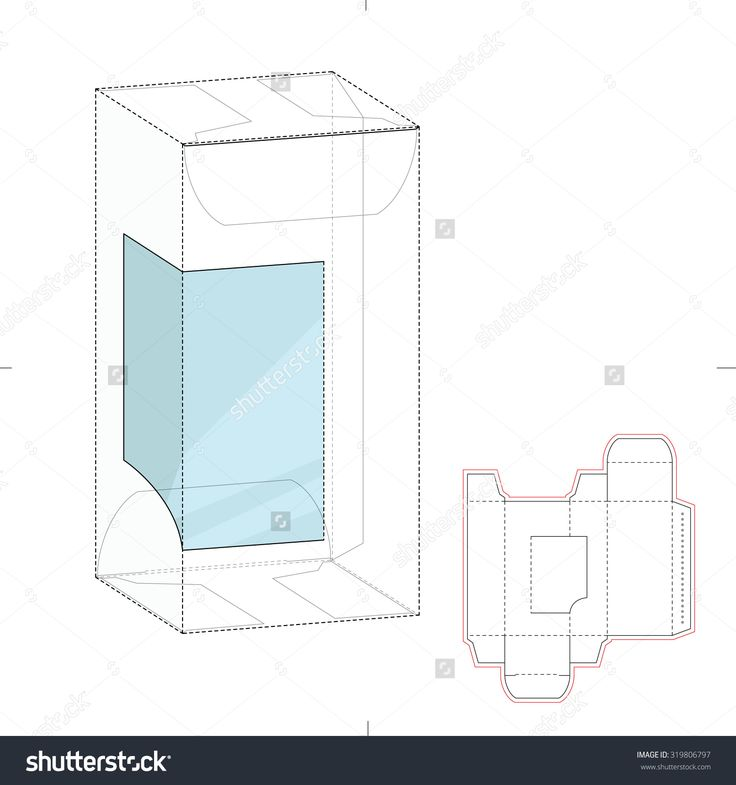 Retail Box With Product Display Window Cut And Die Line Template Stock Vector Illustration 319806797 : Shutterstock