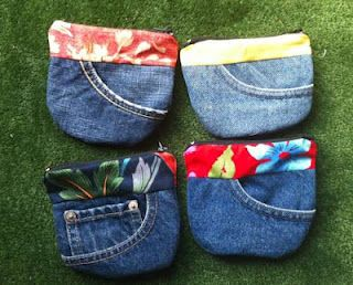Various craft ideas with recycled jeans/ http://www.sewingforutange.blogspot.co.uk/2012/05/more-pocket-purses.html