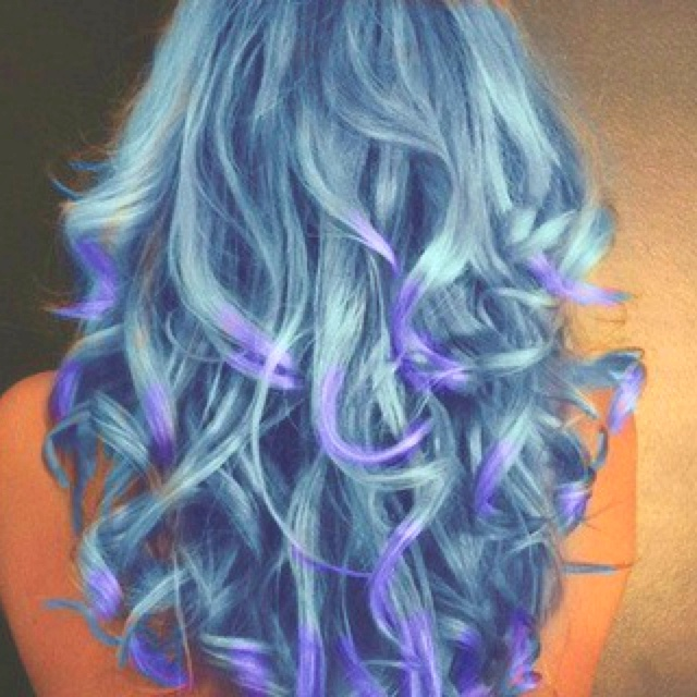 curled bluegreen hair w purple tips oh to be brave