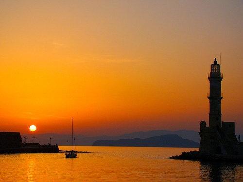 .Chania, old venetian harbour, Crete - Greece
