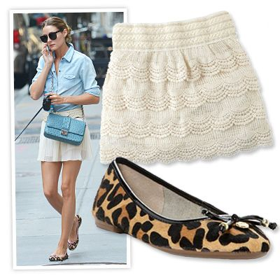 BREEZY MINI, PATTERNED FLATS Unabashedly showcase your stems with a high hemline paired with patterned flats, like Olivia Palermo's wispy Topshop number and pink-piped leopard ballerinas. Crochet skirt, $15; delias.com. Leather flats, $150; farfetch.com.