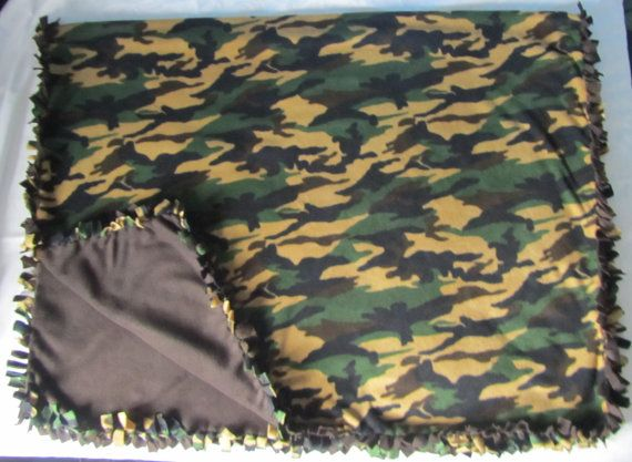Large and cozy Camouflage fleece tie by BriersBlankets on Etsy