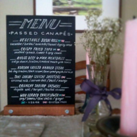 Self standing customized bar table menu by andreacaseyart for Table 52 menu