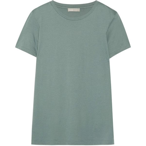 Vince Boy Pima cotton-jersey T-shirt (£70) via Polyvore featuring tops, t-shirts, gray green, relax t shirt, relaxed tee, gray crew neck t shirt, grey t shirt and green tee