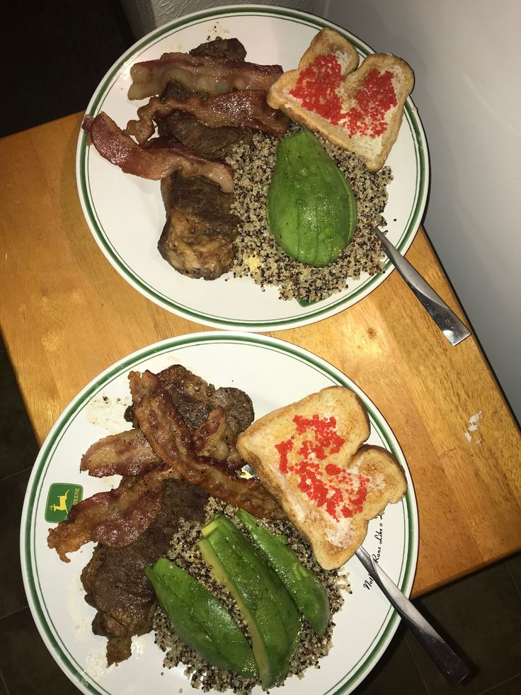 Seared Steak  Bacon !!  Fluffed chili lime eggs  Quinoa  Toast with marscapone and vodka lumpfish caviar   All made by Tyrus 😍👌🏻