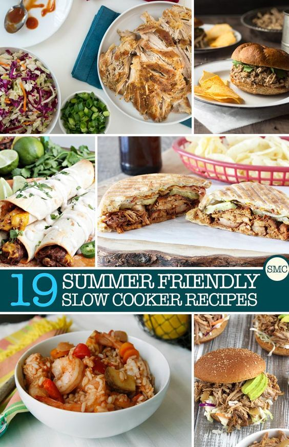 I never think about using my slow cooker in the summer but these recipes have no pre cooking so they're great for hot days!