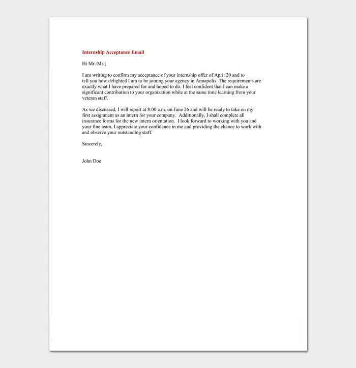 Internship Acceptance Letter From Company Best Of Internship