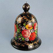 G. DeBrekht Floral Wood Ornament Russian Lacquer Zhostovo
