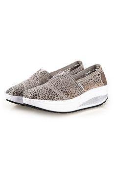 UShoes U100517 Women Fahion Wedge Sneakers Shoes 2015 Women Wedge Platform Sport Shoes (Grey) (Intl)