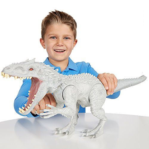 Hasbro's Jurassic Indominus Rex. Meet the king of Jurassic World: Indominus Rex. He is a dino-stomping monster whose colour-changing skin will hide him until he is ready to strike. #dinosaur #t-rex toys4mykids.com