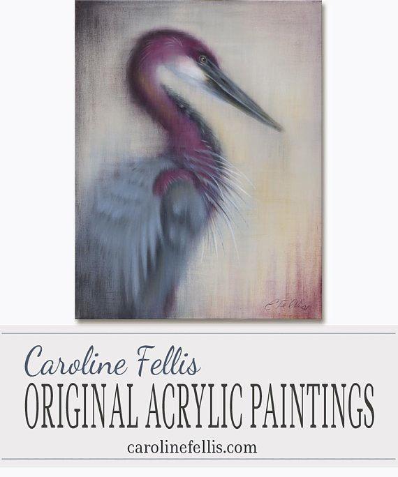 Purple Bird Acrylic Painting Purple Heron Painting Bird