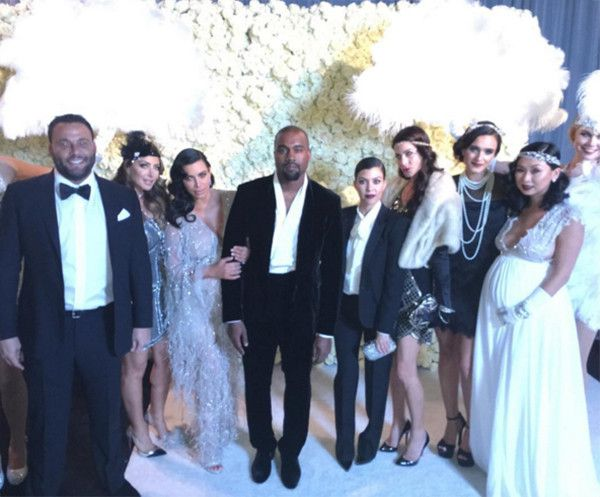 Kim Kardashian, Kanye West, Kourtney Kardashian & Larsa Pippen from Kris Jenner's Great Gatsby-Themed 60th Birthday Party  The three appears with friends, as seen inLarsa Pippen's Instagram page.