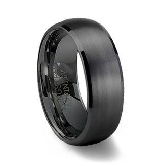 For him  Black Brushed Domed Mens Tungsten Wedding Ring | Black Wedding Band  I want this with a thin row of diamonds. No big.