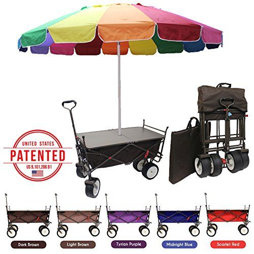 The Latest Everyday Sports AllInOne All Terrain Outdoor Utility Beach Camping Cart Include Collapsible Wagon Folding Table 8 Rainbow Umbrella Coffee Brown Include 8 Umbrella -- Click image for more details.