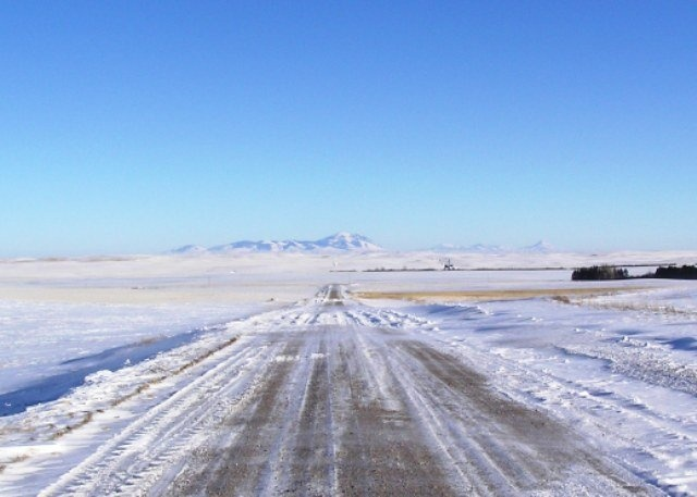 Eastern Montana in the Winter. The road conditions we try to avoid.