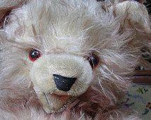 Gran viejo osito de peluche largo mohair oso de peluche, no Steiff; ¿ojos de cristal, articulado pulgadas 19,7 H, Alemania? CA 1940!!!!