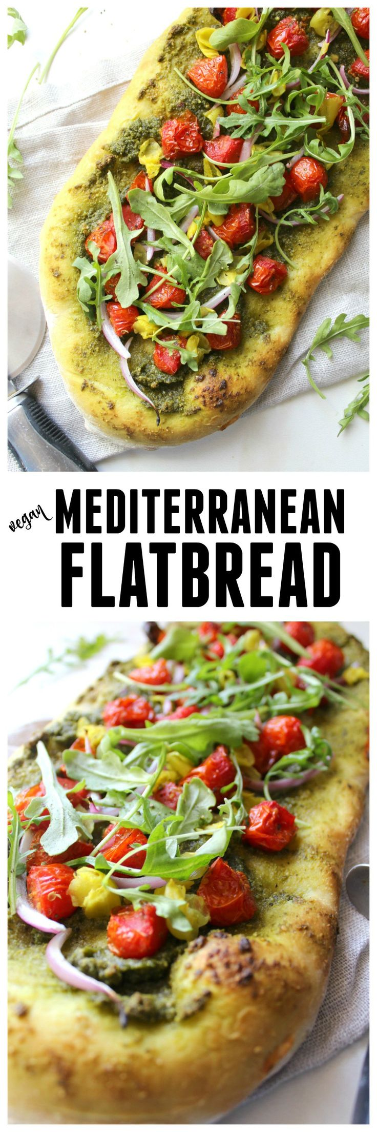 Mediterranean Flatbread | VEGAN | ThisSavoryVegan.com
