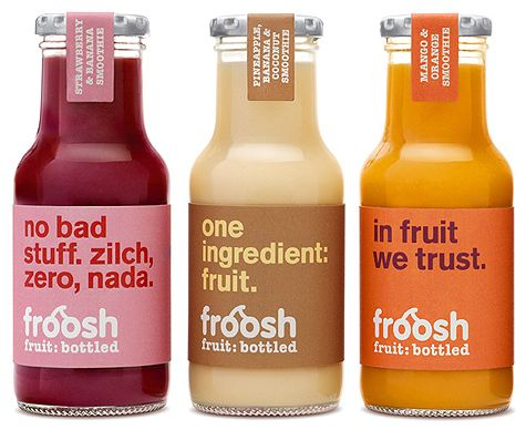 Froosh smoothies.  Beautiful and informative content on the label.