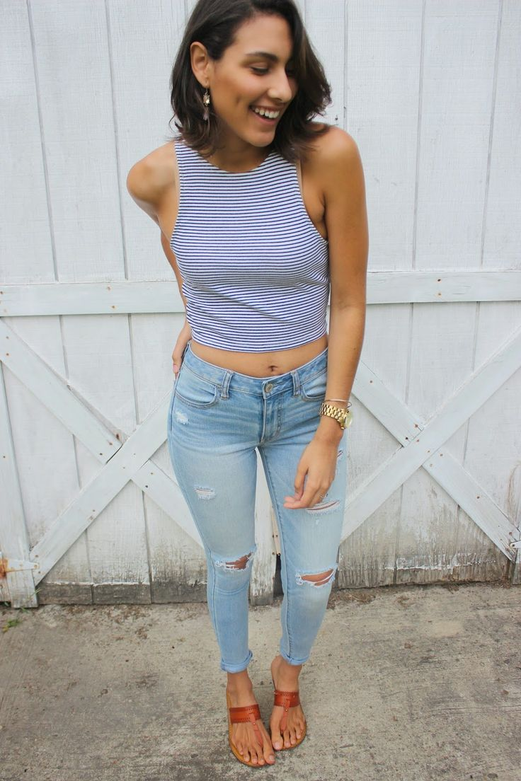 Women&39s White and Navy Horizontal Striped Cropped Top Light Blue