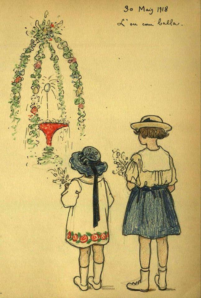 Quadern de dibuix de Joaquim Renart. 12, Realitzat entre el 22 de febrer de 1918 i el 4 d'agost de 1918 :: Materials gràfics (Biblioteca de Catalunya)