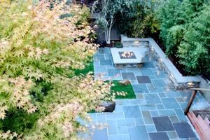 Love the multi-colored stone, firepit style, built in lighting to surround wall.