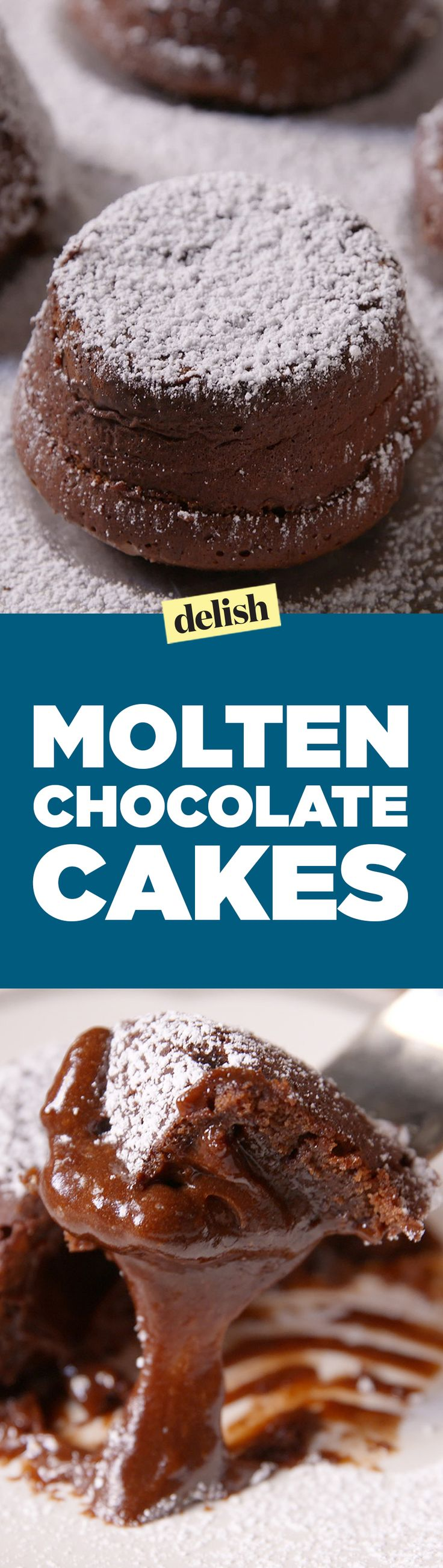 These Molten Chocolate Cakes breaking open is the most satisfying thing you'll ever watch. Get the recipe on Delish.com.
