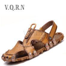 US $41.86 VQRN Fashion Men Beach Sandals High Quality Summer Leather Men Sandals Mens Slippers Zapatillas Hombre. Aliexpress product