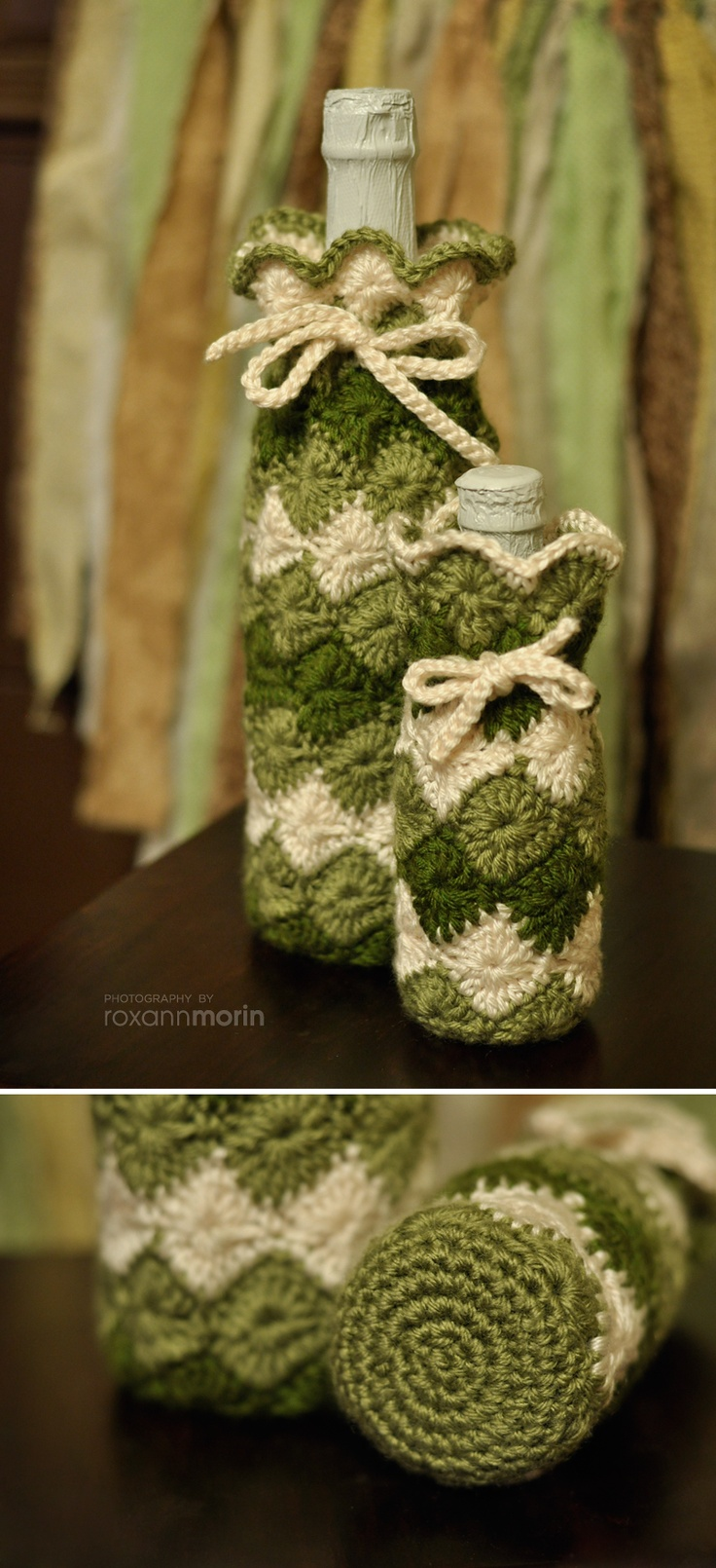Crochet wine bottle holder / cover I used the harlequin stitch and single crochet for the bottom circle.