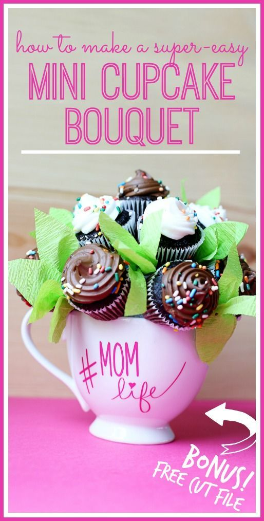 how to make a super-easy Mini Cupcake Bouquet - - Sugar Bee Crafts #GiveBakery @bakerybecause