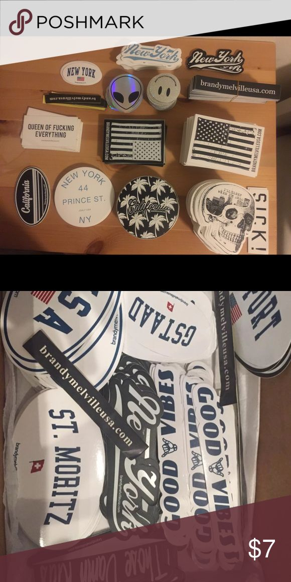 Brandy Melville Stickers CHOOSE YOUR BUNDLE AND I WILL MAKE A SEPARATE LISTING 10 for $7 (chosen) 20 for $12 (random) 50 for $20 (random) 100 for $25 (random) You may not choose for random bundles but you can tell me some of what you prefer and I can try to include more of it Prices are FIRM Brandy Melville Other